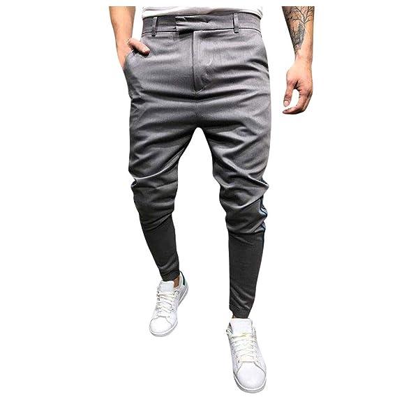 Pantalones Hombre Moda Pop Casuales Color sólido Chándal de ...