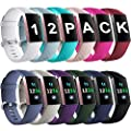 Ouwegaga Compatible For Fitbit Charge 3 Bands For Women Fitness Wristbands Small 12 Packs