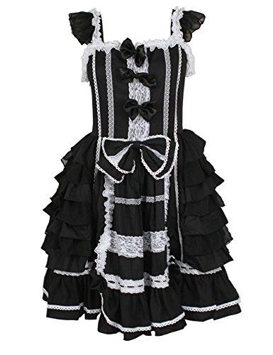 Bowknot ärmelloses Kleid Alles gefaltetes Rollenspiel LanLan stilvolle Kleid überlagertes Cosplay Damen für Schwarz Spitze Cosplay Partei Kleid nCqq8vwBTO