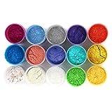15 Colors Slime Dye Powder Mica Powder Pigments Soap Dye (0.35 oz per color) - Soap Making Colorants Set Colorants for Bath Bomb,Candle Making, Blush, Eye Shadow, Cosmetic, Nail Art, Resin Jewelry
