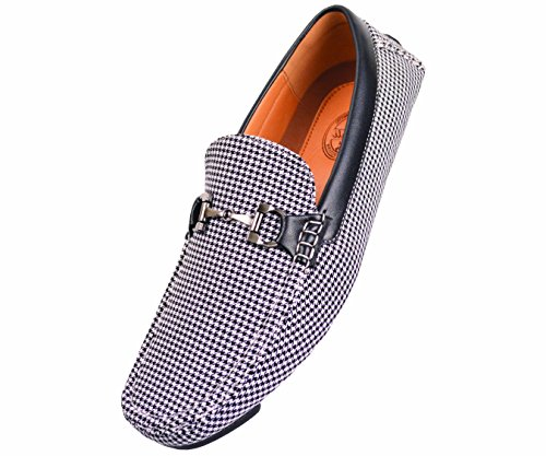 Amali Mens Classic Houndstooth Print with Smooth Black Trim Driving Moccasin Loafer with Silver Ornament in Black: Style 1404 Black-000 15 D (M) US