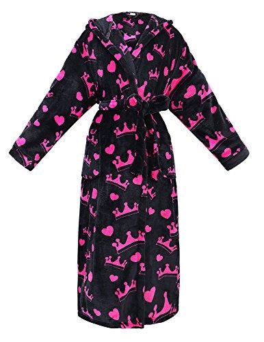 - Women's Robe Plush Hooded Printed Flannel Fleece Bath Robe w/Side Pockets,Crowns