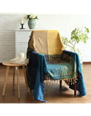 MayNest Bohemian Tribal Throws Blankets Reversible Colorful Red Blue Boho Hippie Chenille Jacquard Fabric Throw Covers Large Couch Furniture Sofa Chair Loveseat Recliner Oversized