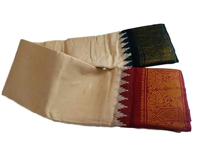 Madurai sungudi cotton saree with off white plain body and ganga