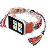 WONMILLE for Apple Watch Band 42mm Series 3 Series 2 and Series 1, Wristband Handmade Weave Straps National Rainbow Bracelet with Flexible Drawstring Clasp for Apple Watch (Peach, 42mm)