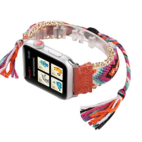 WONMILLE for Apple Watch Band 38mm Series 3 Series 2 and Series 1, Wristband Handmade Weave Straps National Rainbow Bracelet with Flexible Drawstring Clasp for Apple Watch (Peach, 38mm) ()