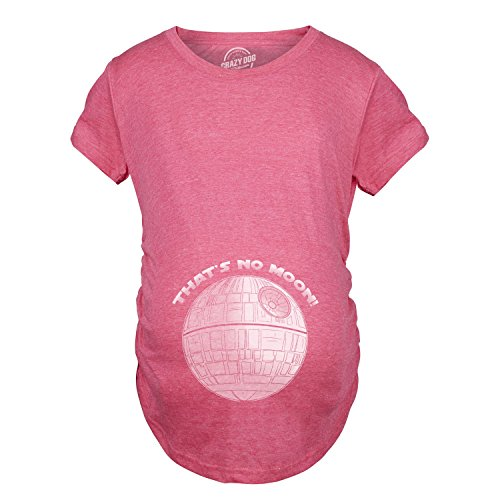 Maternity Thats No Moon Cute T Shirt Funny Pregnancy Announcement Baby Bump Tee (Pink) - L