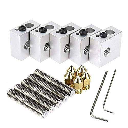 Zomiee 5pcs 30MM Length Extruder 1.75mm Tube + 5pcs 0.4mm Brass Extruder Nozzle Print Heads + 5pcs Aluminum Heater Block Extruder Kit for MK8 M6 Makerbot Reprap 3D Printers by Zomiee