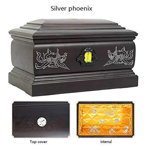 DJALSKJ Cinerary Casket Solid Wood Ebony Anti Corrosion FIG Carved Sandalwood Grade Pure Wood Coffin Memorial Cremation Urns Silver - Silver Coffin