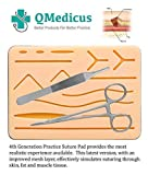 Complete Suture Practice Kit for Training. Includes Full Set of Stainless Tools, 4th Generation, 4-Layer Suture Pad with Pre-Cut Wounds, 24 Silk and Nylon