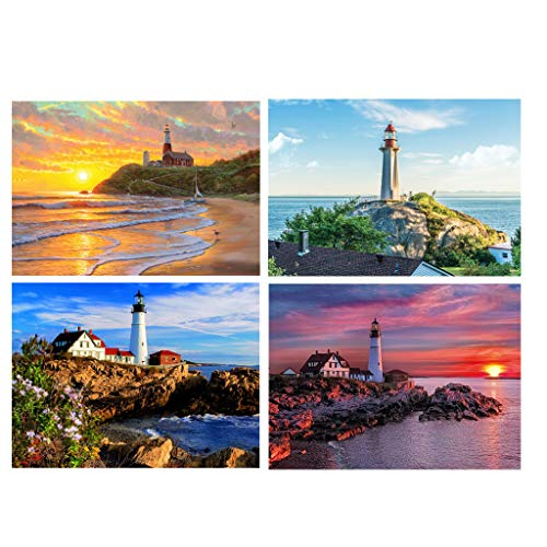 (KUKALE DIY Diamond Painting Kits 4 Pack Seaside Sunsize Sunset 5D Art Gift Full Drill Rhinestone Embroidery Cross Stitch for Home Decor)
