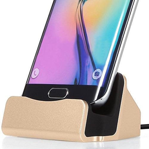 FanTEK Micro USB Charging Dock for Samsung Galaxy J7, BLU Life One X2, Huawei P8 Lite, ASUS ZenFone 2 Laser, LG G4, ZTE Blade L2, Microsoft Lumia 735, OnePlus One, Motorola Moto G Pay 4th Gen. (Gold) (Ace 4 Lite Duos Case)