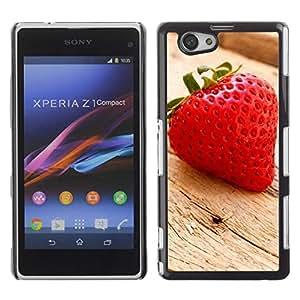 Exotic-Star ( Fruit Macro Wood Strawberry ) Fundas Cover Cubre Hard Case Cover para SONY Xperia Z1 mini