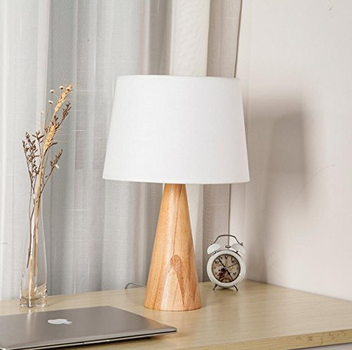 Wooden Cone Base Bedside Table Lamp Linen/White Fabric Lampshade Desk Lamp Modern/Contemporary Home Table Lamp Bedroom Office Dorm Hotel Study(Φ30cmh47.5cm) (Style : A)
