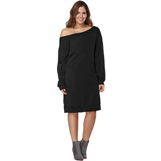 fashion women plus size tunic dress long sleeve off shoulder casual loose christmas party dress