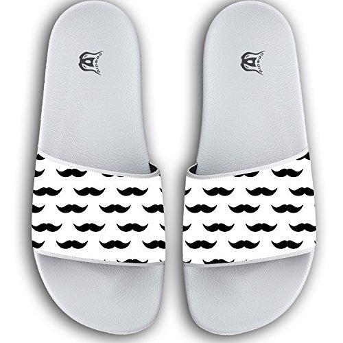 86ca6b8db525ef 50%OFF COWDIY Black Mustache Slipper Slip On Flip Flop Slide Athletic Sandal  Shower Beach