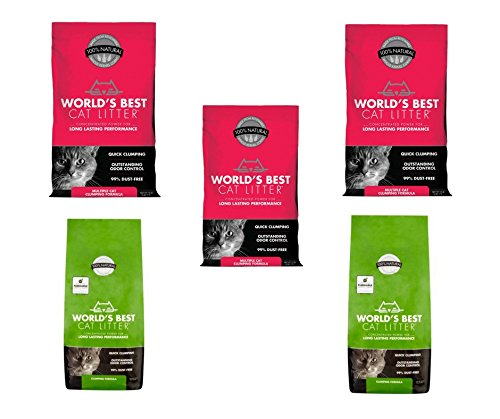 World's Best Cat Litter Multiple Cat Clumping Formula, (15 Pound Bag) (Red/Green 5Packs)