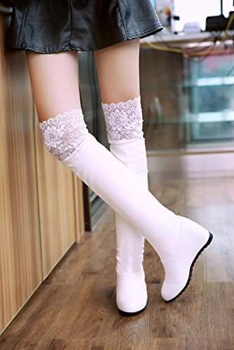 Autumn Leather PU by White Casual Knee Winter Boots The Wedge Warm BIGTREE Women Comfortable Long Lace Over Boots 8WwCSatq