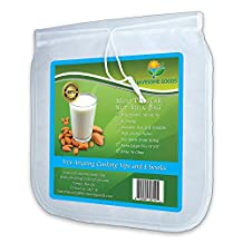 "Nut Milk Bag Extra Large - Best Reusable 13""x13"" Filter Strainer for Almond Milk, Juice, Cold Brew Coffee.. Bonus Tips and Recipes"