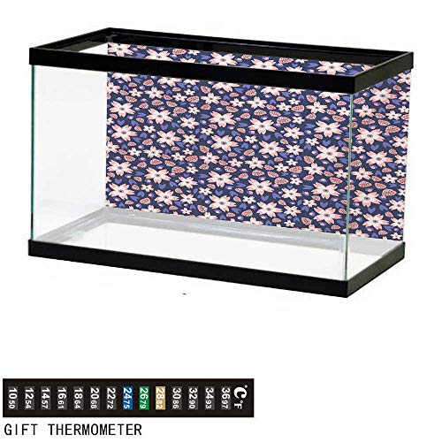 wwwhsl Aquarium Background,Floral,Pastel Colored Doodle Flowers Blooming Foliage Leaves on a Dark Background,Purple Pale Pink Fish Tank Backdrop 48