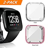 Fitbit Versa Case, 2 PACK Belyoung Soft TPU Slim Fit Full Cover Screen Protector for Fitbit Versa Smartwatch