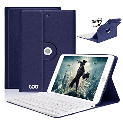 iPad Mini Keyboard Case for Apple iPad Mini 3/2/1, COO Wireless Detachable Bluetooth Keyboard Magnetic Cover with Apple Sleep/Wake, Built-in Non-Slip Material-Adjust Any Angle (Best Keyboard For Ipad Mini Retina Display)
