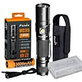 Fenix UC35 V2.0 2018 Upgrade 1000 Lumen Rechargeable Tactical Flashlight with 3500mAh Battery,Holster, Lanyard, USB Charging Cable,battery case