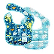 Bumkins Baby Bib, Waterproof Starter Bib 2 Pack (B90-Sea Friends/Whales) (3-9 Months)