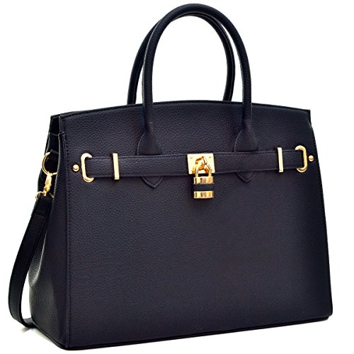 Dasein Faux Leather Padlock Structured Briefcase Satchel Handbag, Tablet, iPad Bag - Classic Black