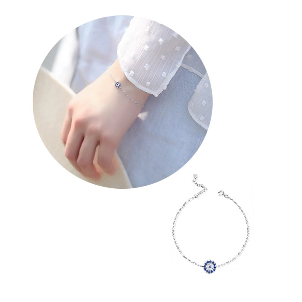 Blue Turkey Evil Eye Charm Bracelet - Gold/Rose Gold/Silver Adjustable Link Bracelet Women Girls (Silver)