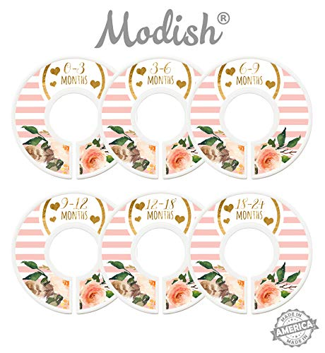 Modish Labels Baby Nursery Closet Dividers, Closet Organizers, Nursery Decor, Baby Girl, Hearts, Flowers, Pink, Stripes (Baby)
