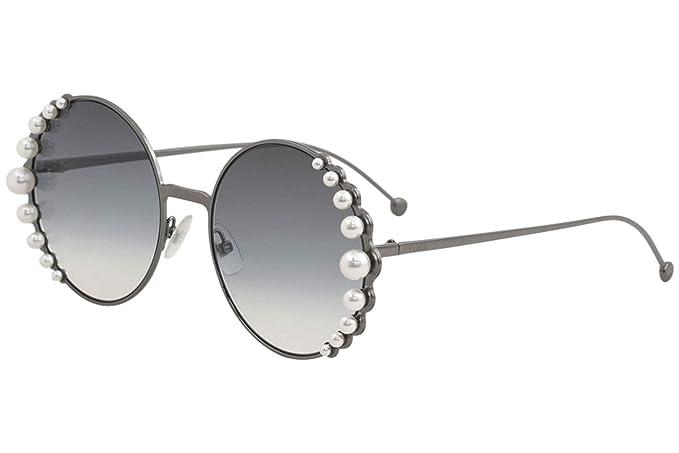 Fendi Womens Round Pearl Frame Sunglasses