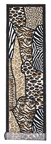 Rugs 4 Less Collection Animal Skin Prints Patchwork Leopard Long Runner Area Rug R4L 70 (2'4''X10'11'')