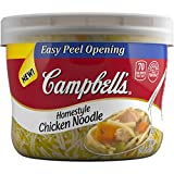 Campbell's  Homestyle Chicken Noodle Soup Microwavable Bowl is crafted with delicious chicken meat, vegetables, enriched egg noodles and spices. Enjoy the rich flavors of a classic homemade soup on the go.