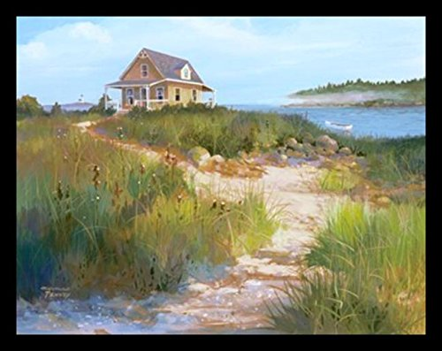 (buyartforless FRAMED Island Retreat by Jacqueline Penney 28x22 Art Print Poster Coastal Beach Dunes Cottage Seaside )