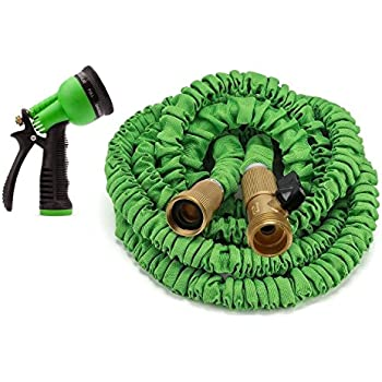 GrowGreen Expandable & Strongest Garden Hose with All Heavy Brass Connectors, 50'