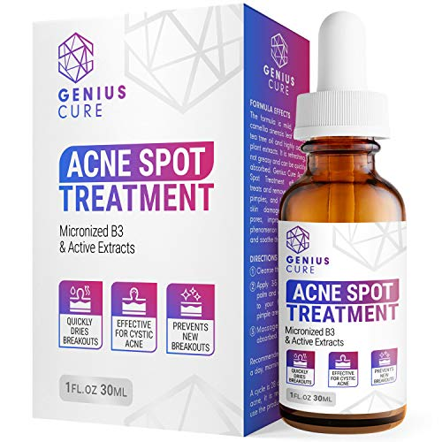 GENIUS Acne Spot Treatment Serum for Acne Prone Skin, Mild, Moderate, Severe, Cystic Acne - Premium Tea Tree Oil, Plant… 1