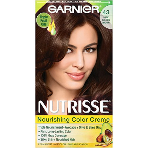 Garnier Nutrisse Nourishing Hair Color Creme, 43 Dark Golden Brown (Cocoa Bean) (Packaging May Vary)
