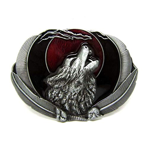Native American Indian Belt Buckles Howling Wolf Cowboy Belt Buckle Men Red Moon Feather Wolf Head