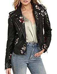 Women's Floral Embroidered Faux Leather Moto Jacket Coat