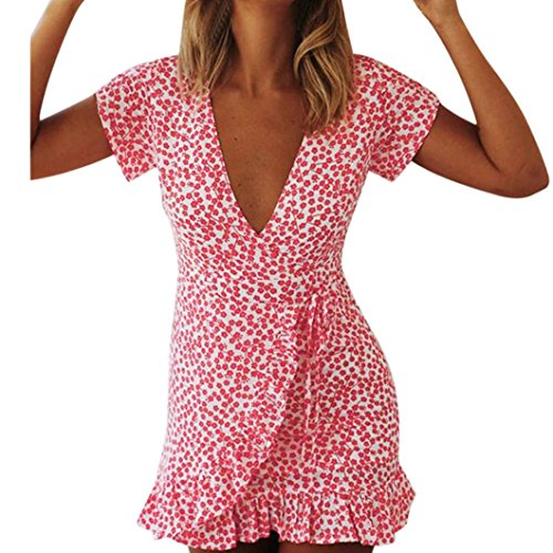(YJYDADA Sexy Women Summer Short Sleeve V Neck Irregular Printing Dress Evening Party Dress (S))