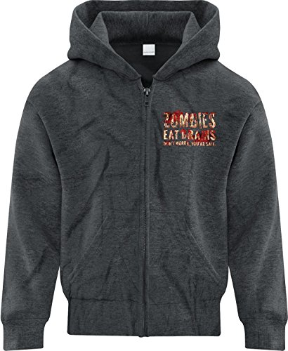Price comparison product image BSW Girls Zombies Eat Brains You're Safe Bloody Splatter Zip Hoodie LRG Drk Hthr