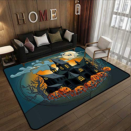 Floor mats for Trucks,Halloween Decorations,Medieval Haunted House with Garden Full of Pumpkins and Dark Night,Orange Teal 59