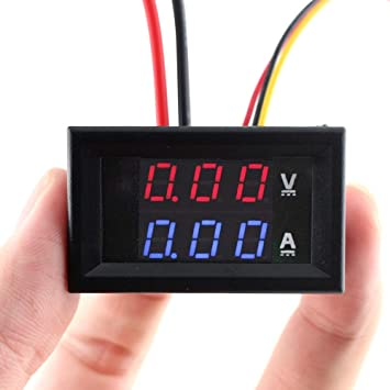 Eiechip Led Digital Voltmeter Ammeter Dc Digital Multimeter 100v 10a Blue Red Led Amp Dual Digital Display Volt Meter Gauge Car Current Monitor Tester 0 28 Inch Amazon Com