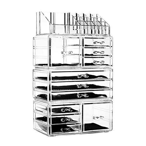 Felicite Home Acrylic Jewelry and Cosmetic Storage Makeup Organizer Set, 4 Piece