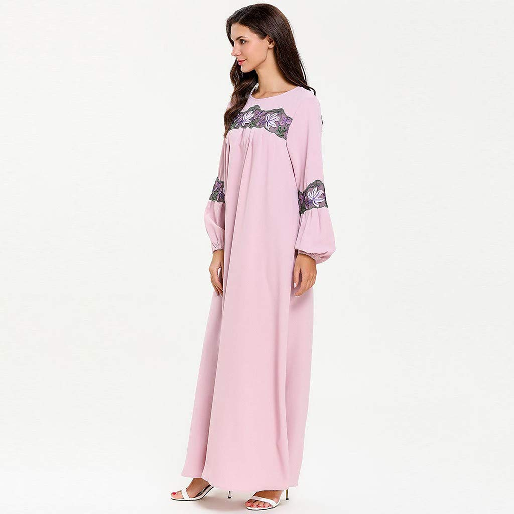 perfectCOCO Women Muslim Dress Elegant Floral Loose Arab Dresses Islam Jilbab Cocktail Robes Pink by perfectCOCO dress (Image #7)