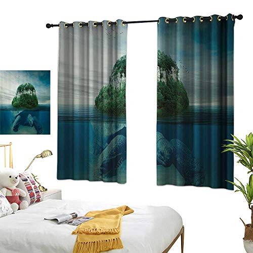 Guane Backdrop Curtain Sea Animals Decor Collection,Giant Turtle Carrying Island on Back Swimming Under The Ocean Fantasy Photo Pattern,Green Gray 54