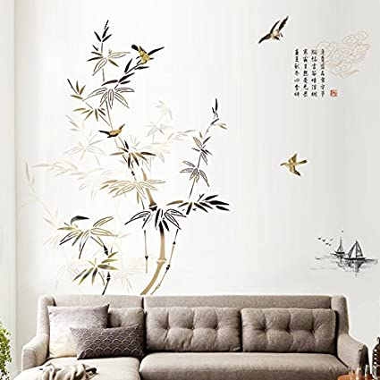 HCCY Vento cinese bamboo inchiostro Wall stickers camera da letto ...