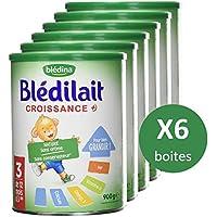 Blédina Blédilait Croissance - Lait bébé de Croissance (3eme age) en poudre de 12 mois à 3 ans - 900 g - Pack de 6