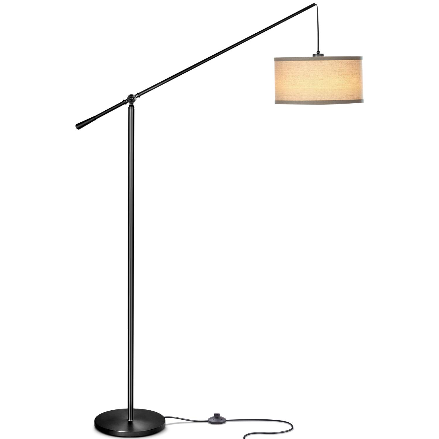 Brightech Hudson 2 - Living Room LED Arc Floor Lamp for Behind The Couch - Alexa Compatible Pole Hanging Light to Stand Up Over The Sofa - with LED Bulb - Jet Black